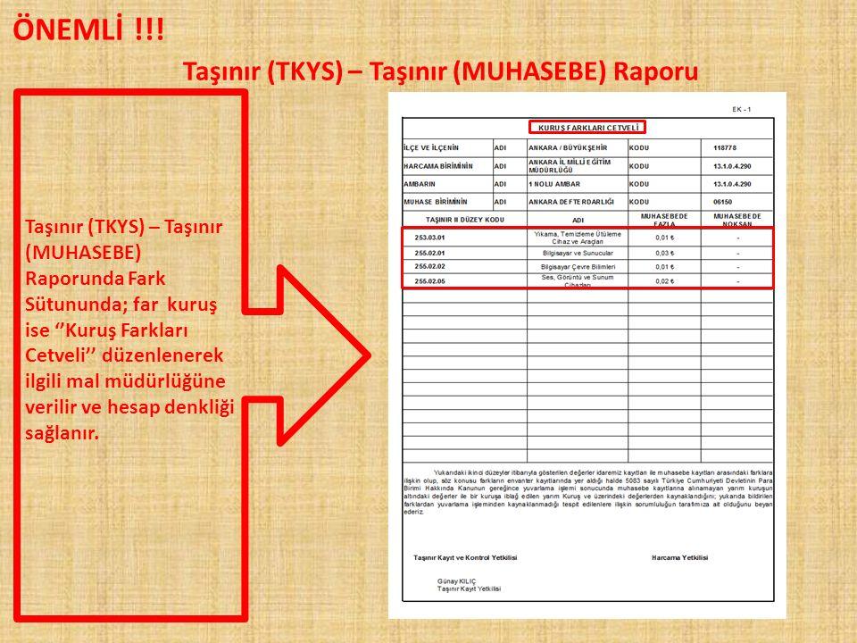 TAŞINIAR RAPORLARI 13 Nolu Örnek (Sayım Döküm Cetveli) Taşınır Raporlar Rapor Seç
