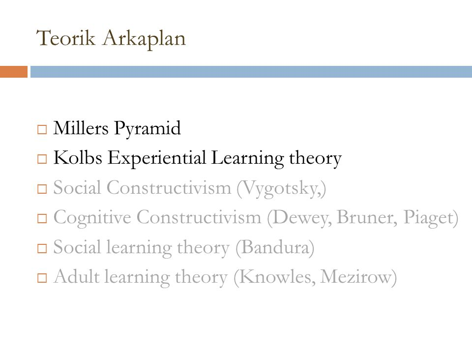 Teorik Arkaplan  Millers Pyramid  Kolbs Experiential Learning theory  Social Constructivism (Vygotsky,)  Cognitive Constructivism (Dewey, Bruner, Piaget)  Social learning theory (Bandura)  Adult learning theory (Knowles, Mezirow)