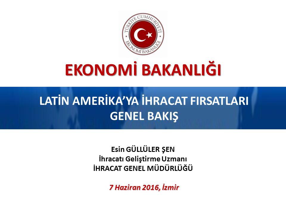 EKONOMİ BAKANLIĞI LATİN AMERİKA'YA İHRACAT FIRSATLARI GENEL BAKIŞ 7 Haziran 2016, İzmir Esin GÜLLÜLER ŞEN İhracatı Geliştirme Uzmanı İHRACAT GENEL MÜDÜRLÜĞÜ