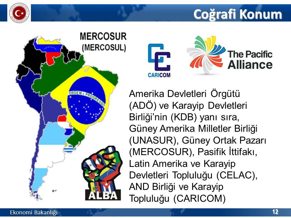 Coğrafi Konum Ekonomi Bakanlığı 12 Amerika Devletleri Örgütü (ADÖ) ve Karayip Devletleri Birliği'nin (KDB) yanı sıra, Güney Amerika Milletler Birliği (UNASUR), Güney Ortak Pazarı (MERCOSUR), Pasifik İttifakı, Latin Amerika ve Karayip Devletleri Topluluğu (CELAC), AND Birliği ve Karayip Topluluğu (CARICOM)