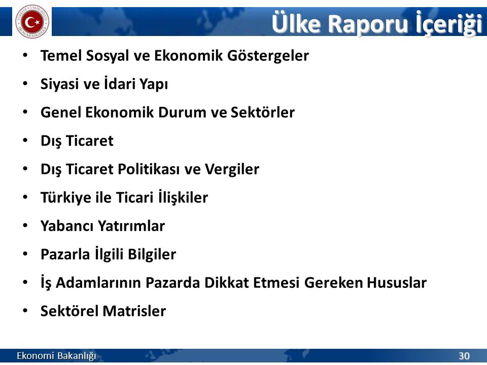 Temel Sosyal ve Ekonomik Göstergeler Siyasi ve İdari Yapı Genel Ekonomik Durum ve Sektörler Dış Ticaret Dış Ticaret Politikası ve Vergiler Türkiye ile Ticari İlişkiler Yabancı Yatırımlar Pazarla İlgili Bilgiler İş Adamlarının Pazarda Dikkat Etmesi Gereken Hususlar Sektörel Matrisler Ekonomi Bakanlığı 30 Ülke Raporu İçeriği