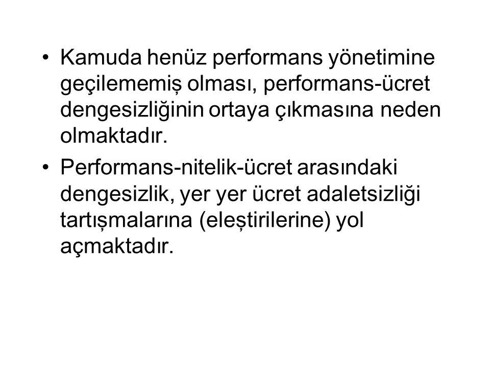 Kamuda henüz performans yönetimine geçilememiş olması, performans-ücret dengesizliğinin ortaya çıkmasına neden olmaktadır. Performans-nitelik-ücret ar