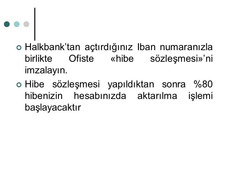 Halkbank'tan açtırdığınız Iban numaranızla birlikte Ofiste «hibe sözleşmesi»'ni imzalayın. Hibe sözleşmesi yapıldıktan sonra %80 hibenizin hesabınızda