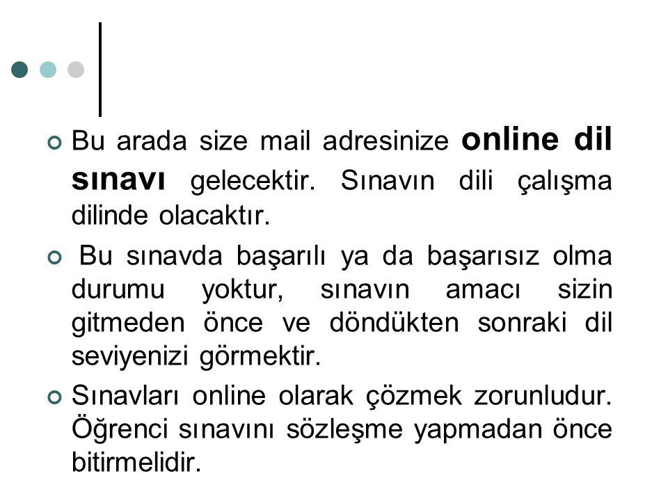 Bu arada size mail adresinize online dil sınavı gelecektir. Sınavın dili çalışma dilinde olacaktır. Bu sınavda başarılı ya da başarısız olma durumu yo