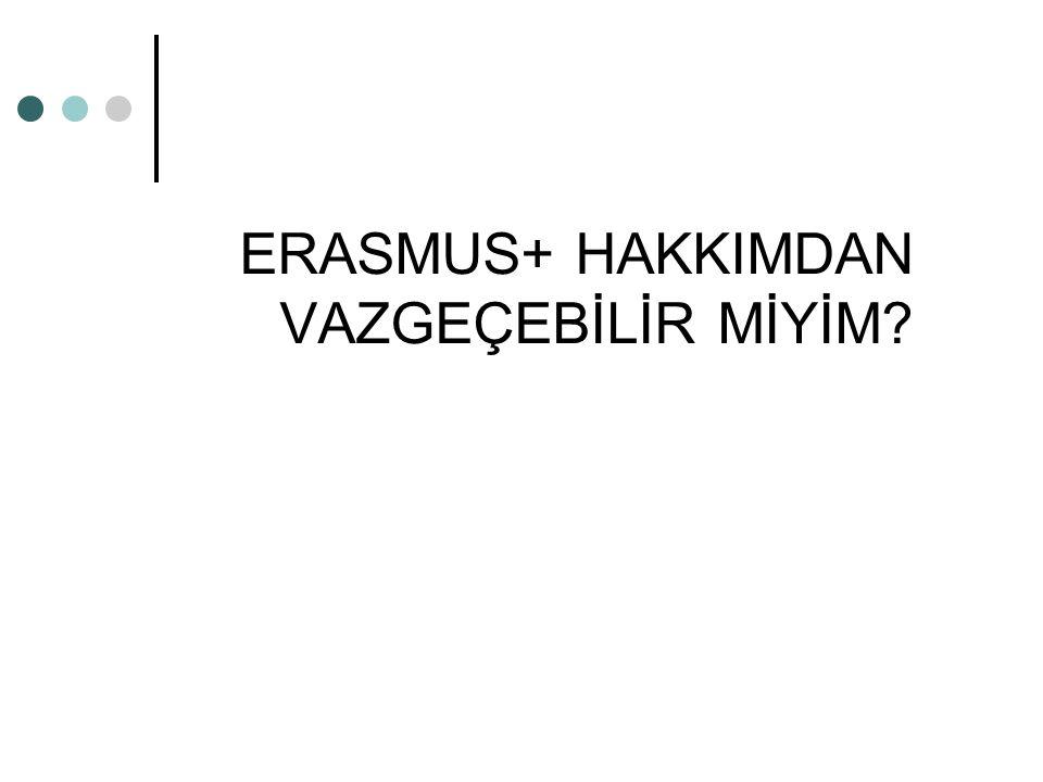ERASMUS+ HAKKIMDAN VAZGEÇEBİLİR MİYİM