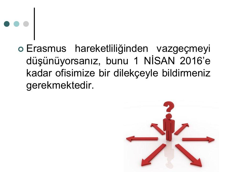 Erasmus hareketliliğinden vazgeçmeyi düşünüyorsanız, bunu 1 NİSAN 2016'e kadar ofisimize bir dilekçeyle bildirmeniz gerekmektedir.