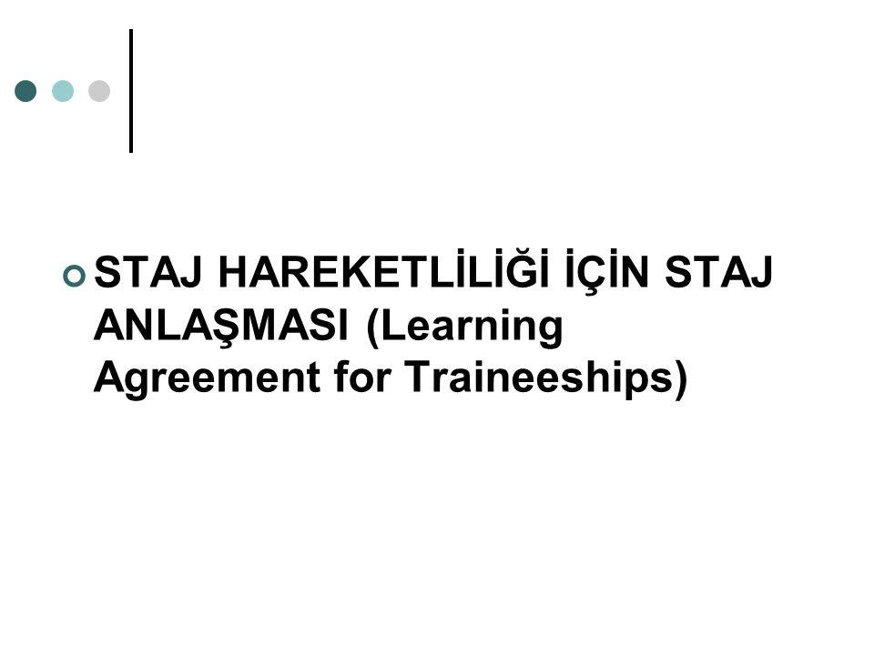 STAJ HAREKETLİLİĞİ İÇİN STAJ ANLAŞMASI (Learning Agreement for Traineeships)