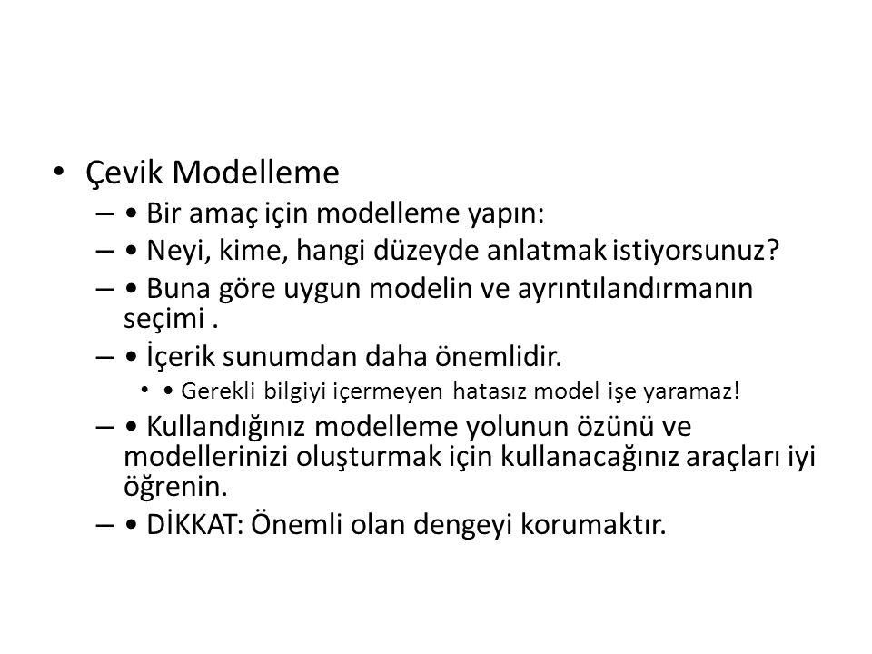 Çevik Modelleme – Bir amaç için modelleme yapın: – Neyi, kime, hangi düzeyde anlatmak istiyorsunuz? – Buna göre uygun modelin ve ayrıntılandırmanın se