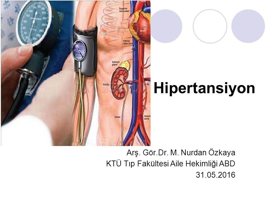 Hipertansiyon Arş. Gör.Dr. M. Nurdan Özkaya KTÜ Tıp Fakültesi Aile Hekimliği ABD 31.05.2016