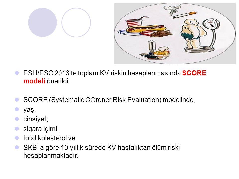 ESH/ESC 2013'te toplam KV riskin hesaplanmasında SCORE modeli önerildi. SCORE (Systematic COroner Risk Evaluation) modelinde, yaş, cinsiyet, sigara iç