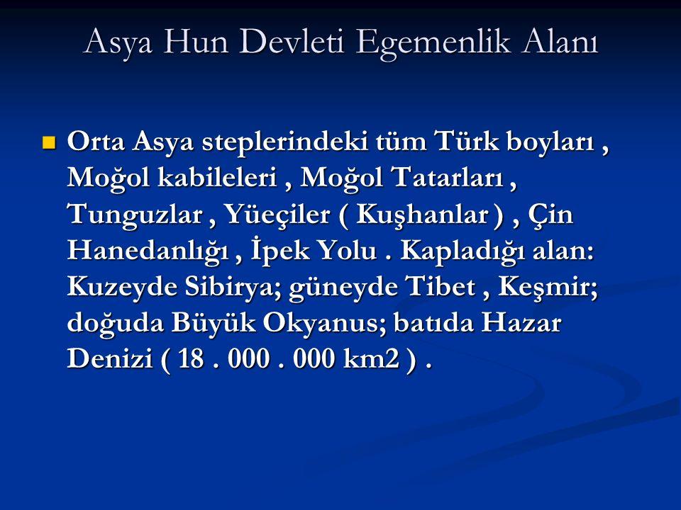 Asya Hun Devleti Egemenlik Alanı Orta Asya steplerindeki tüm Türk boyları, Moğol kabileleri, Moğol Tatarları, Tunguzlar, Yüeçiler ( Kuşhanlar ), Çin H