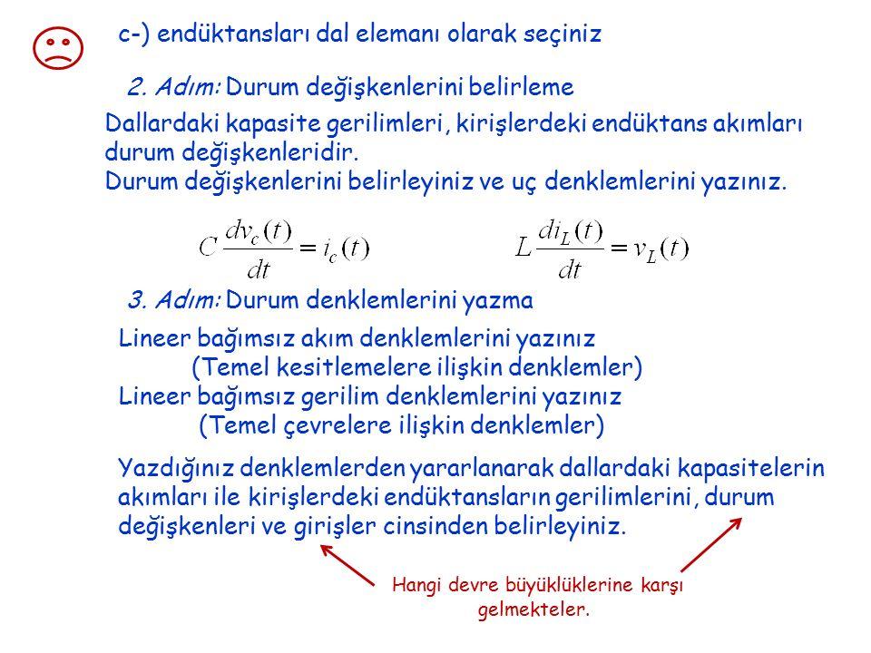 c-) endüktansları dal elemanı olarak seçiniz 2.