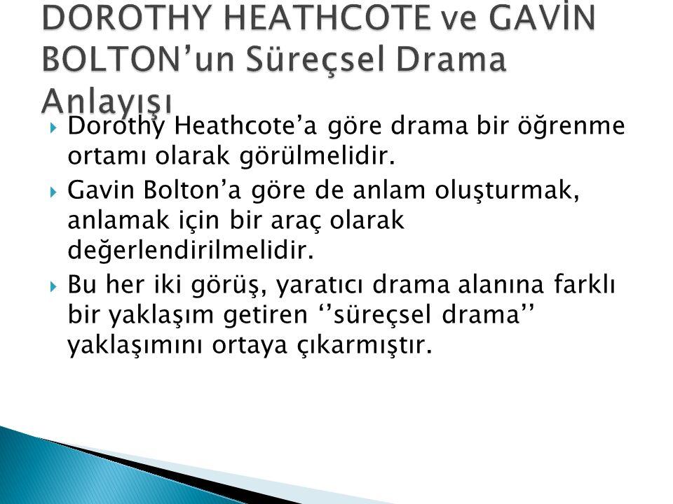  Dorothy Heathcote'a göre drama bir öğrenme ortamı olarak görülmelidir.  Gavin Bolton'a göre de anlam oluşturmak, anlamak için bir araç olarak değer