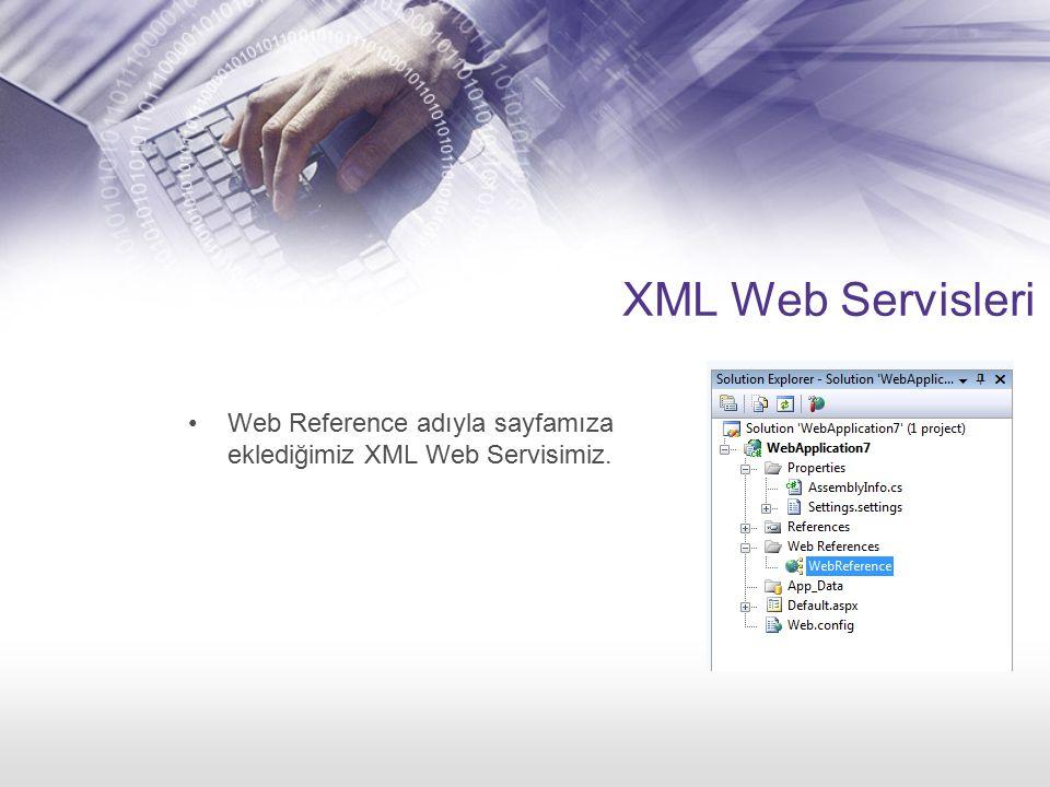 XML Web Servisleri Web Reference adıyla sayfamıza eklediğimiz XML Web Servisimiz.