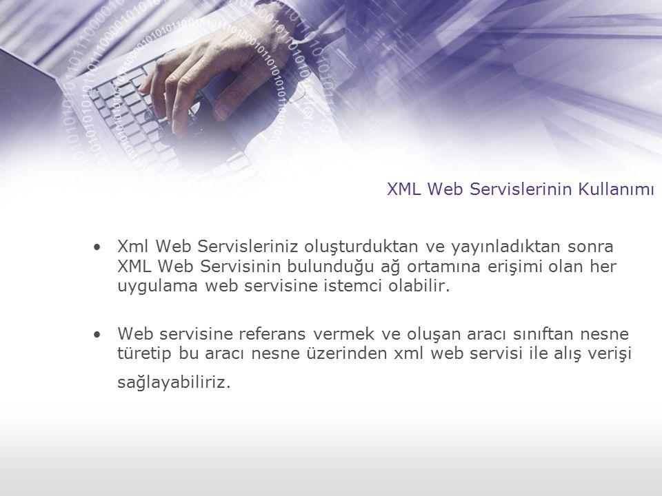 XML Web Servislerinin Kullanımı Xml Web Servisleriniz oluşturduktan ve yayınladıktan sonra XML Web Servisinin bulunduğu ağ ortamına erişimi olan her uygulama web servisine istemci olabilir.