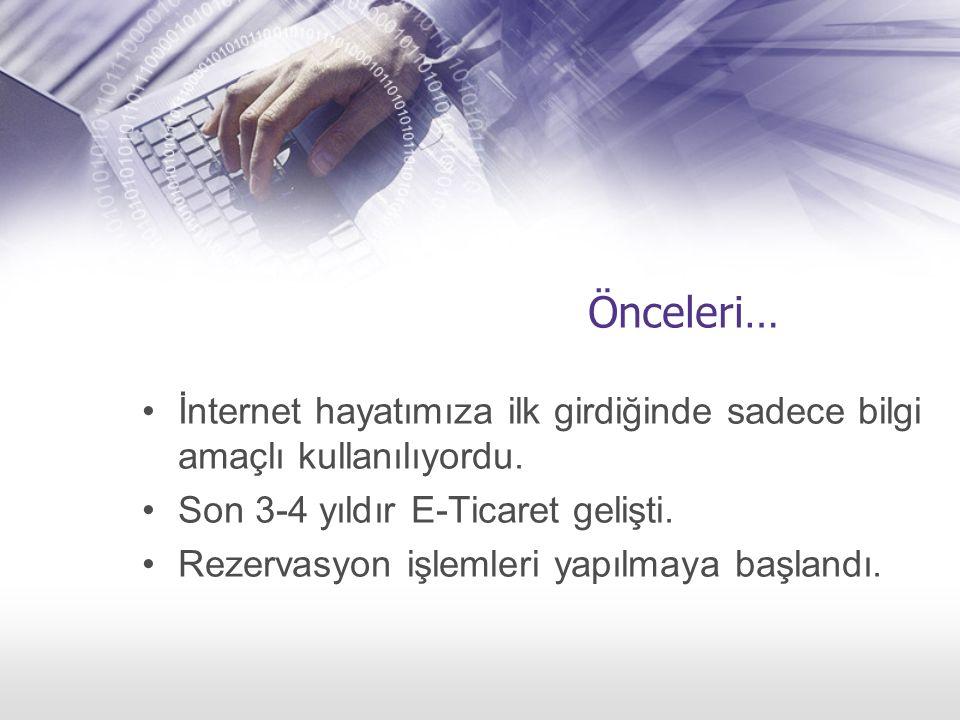 Önceleri… İnternet hayatımıza ilk girdiğinde sadece bilgi amaçlı kullanılıyordu. Son 3-4 yıldır E-Ticaret gelişti. Rezervasyon işlemleri yapılmaya baş