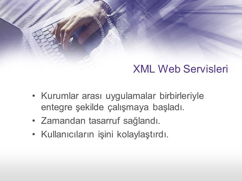 XML Web Servisleri Kurumlar arası uygulamalar birbirleriyle entegre şekilde çalışmaya başladı.