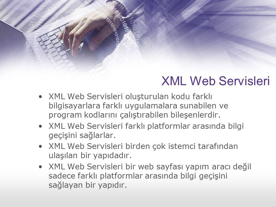 XML Web Servisleri XML Web Servisleri oluşturulan kodu farklı bilgisayarlara farklı uygulamalara sunabilen ve program kodlarını çalıştırabilen bileşen