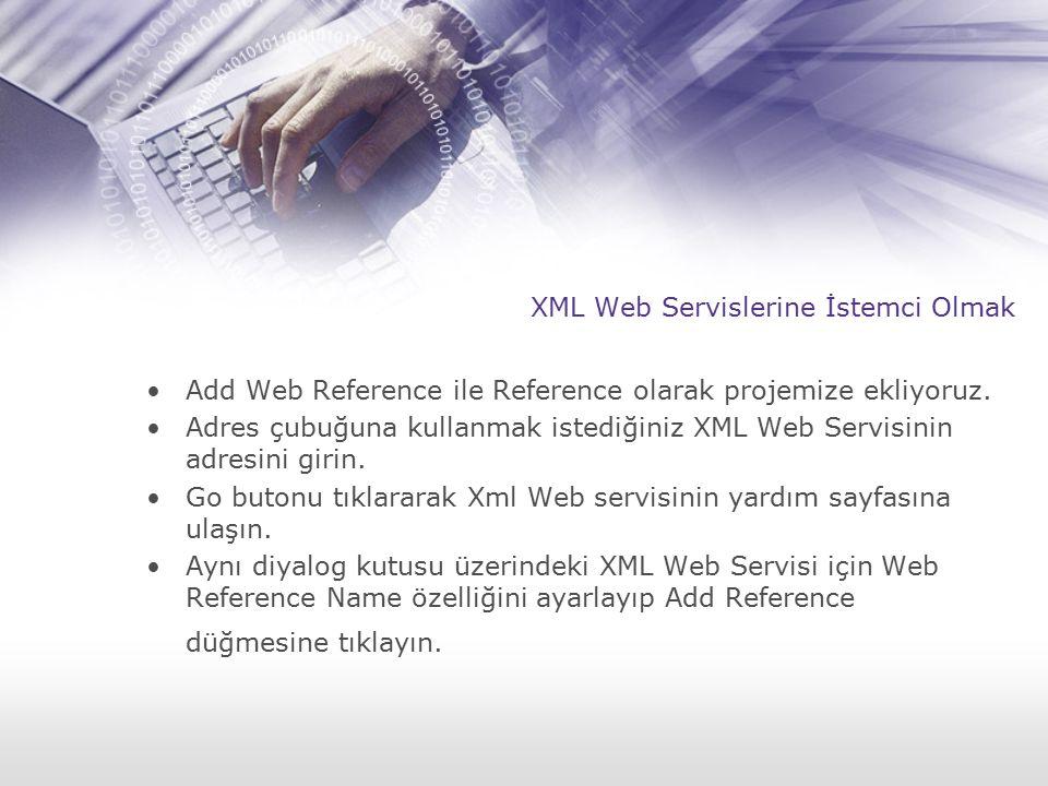 XML Web Servislerine İstemci Olmak Add Web Reference ile Reference olarak projemize ekliyoruz. Adres çubuğuna kullanmak istediğiniz XML Web Servisinin