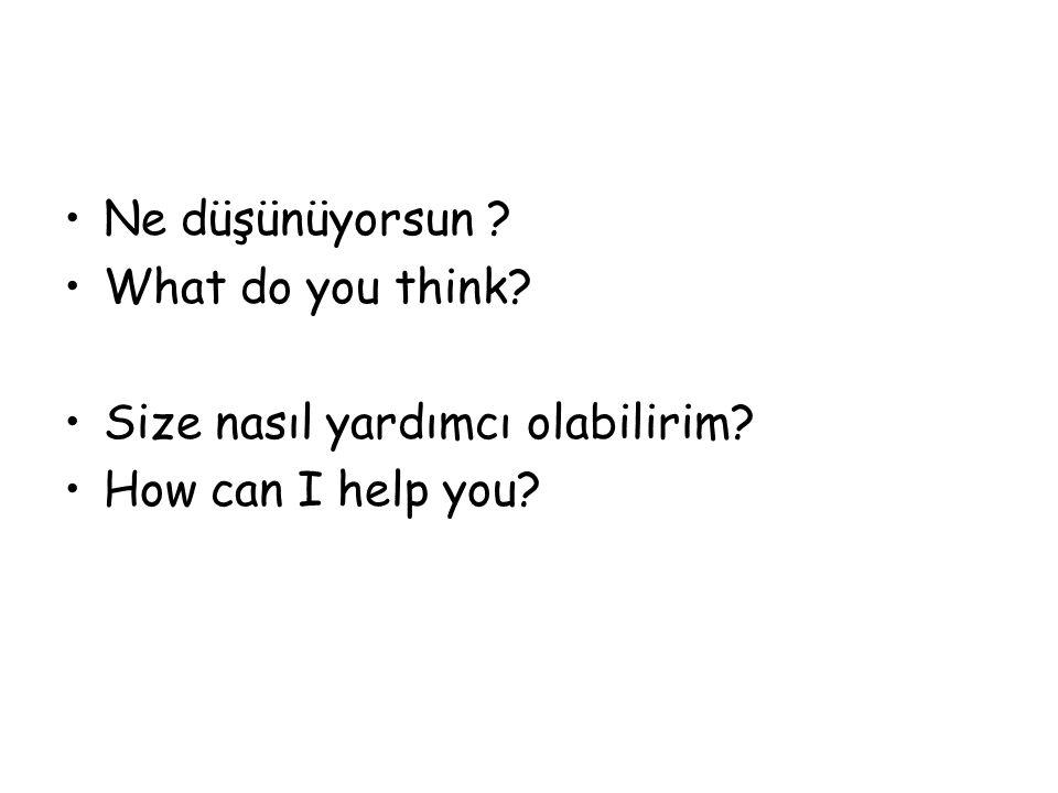 Ne düşünüyorsun ? What do you think? Size nasıl yardımcı olabilirim? How can I help you?