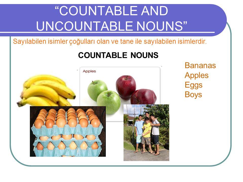 """""""COUNTABLE AND UNCOUNTABLE NOUNS"""" Sayılabilen isimler çoğulları olan ve tane ile sayılabilen isimlerdir. COUNTABLE NOUNS Bananas Apples Eggs Boys"""