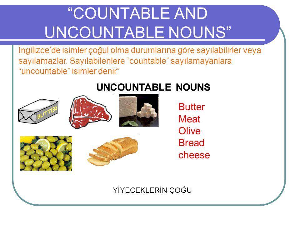 COUNTABLE AND UNCOUNTABLE NOUNS İngilizce'de isimler çoğul olma durumlarına göre sayılabilirler veya sayılamazlar.