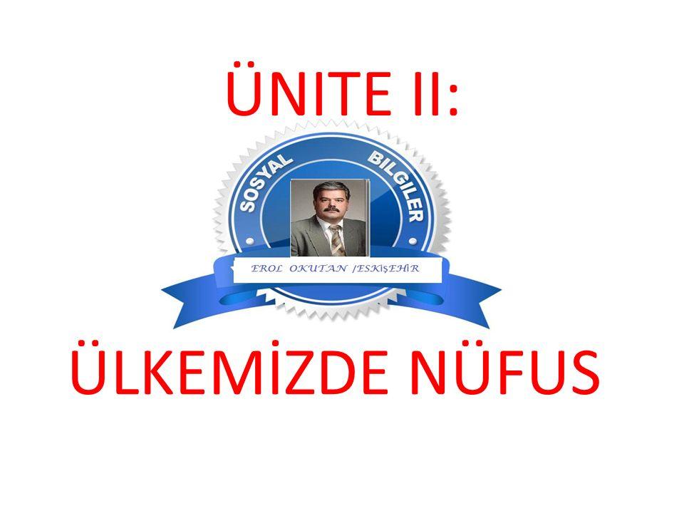 ÜNITE II: ÜLKEMİZDE NÜFUS