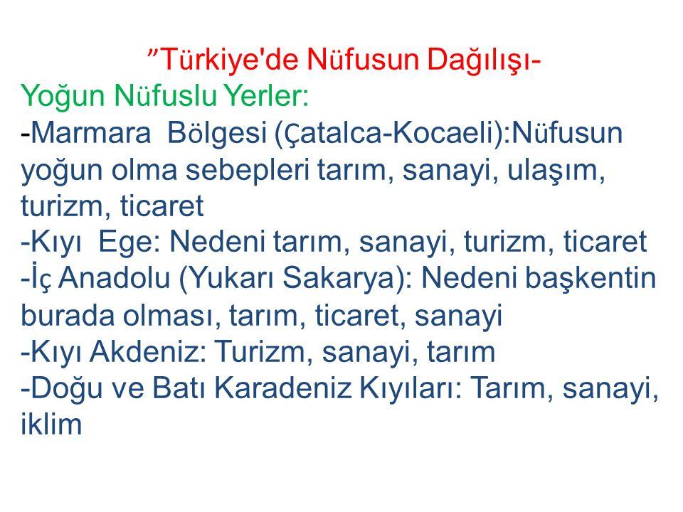 T ü rkiye de N ü fusun Dağılışı- Yoğun N ü fuslu Yerler: -Marmara B ö lgesi ( Ç atalca-Kocaeli):N ü fusun yoğun olma sebepleri tarım, sanayi, ulaşım, turizm, ticaret -Kıyı Ege: Nedeni tarım, sanayi, turizm, ticaret -İ ç Anadolu (Yukarı Sakarya): Nedeni başkentin burada olması, tarım, ticaret, sanayi -Kıyı Akdeniz: Turizm, sanayi, tarım -Doğu ve Batı Karadeniz Kıyıları: Tarım, sanayi, iklim
