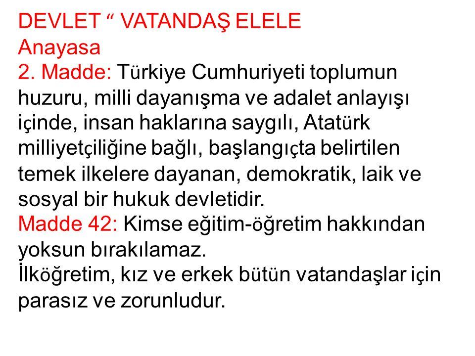 DEVLET VATANDAŞ ELELE Anayasa 2.