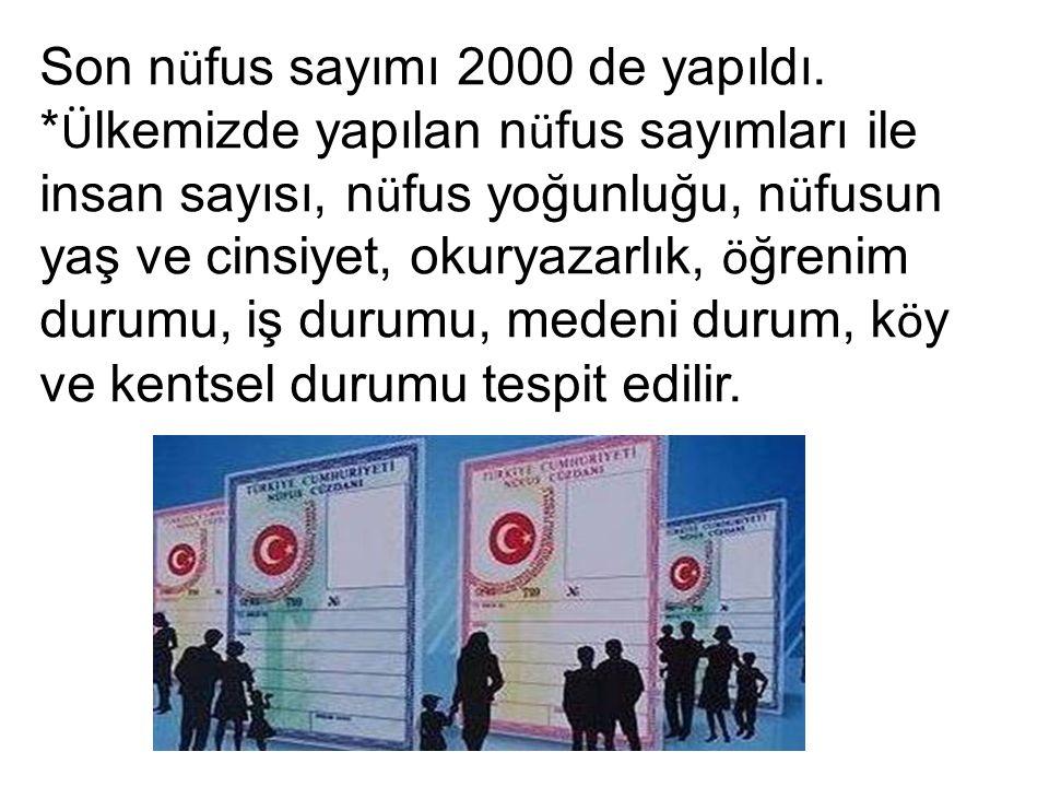 Son n ü fus sayımı 2000 de yapıldı.