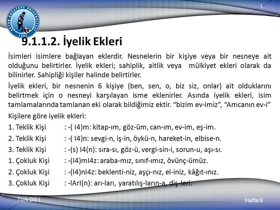 Türk Dili I Hafta 9 1 9.1.1.2.İyelik Ekleri İsimleri isimlere bağlayan eklerdir.