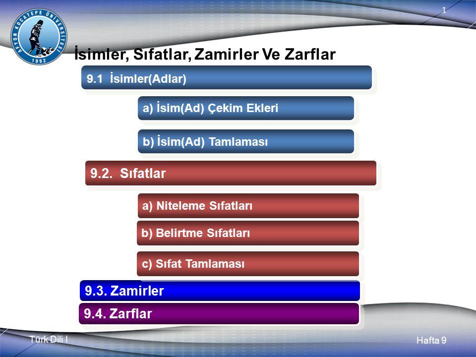 Türk Dili I Hafta 9 1 İsimler, Sıfatlar, Zamirler Ve Zarflar 9.1 İsimler(Adlar) 9.2.