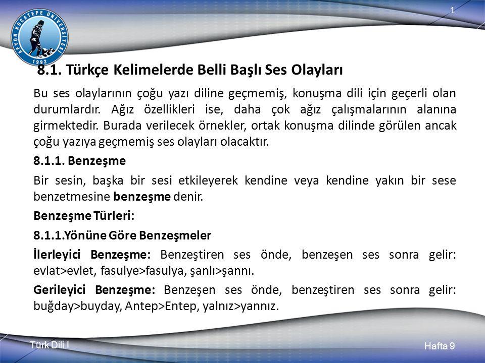 Türk Dili I Hafta 9 1 8.1.