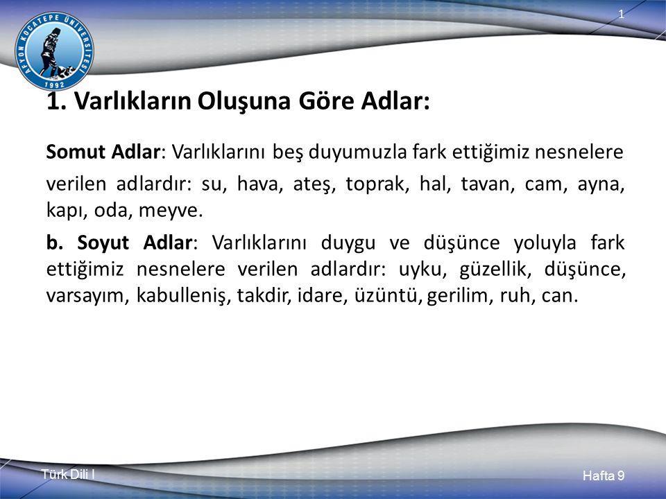 Türk Dili I Hafta 9 1 8.1.Türkçe Kelimelerde Belli Başlı Ses Olayları 8.1.2.