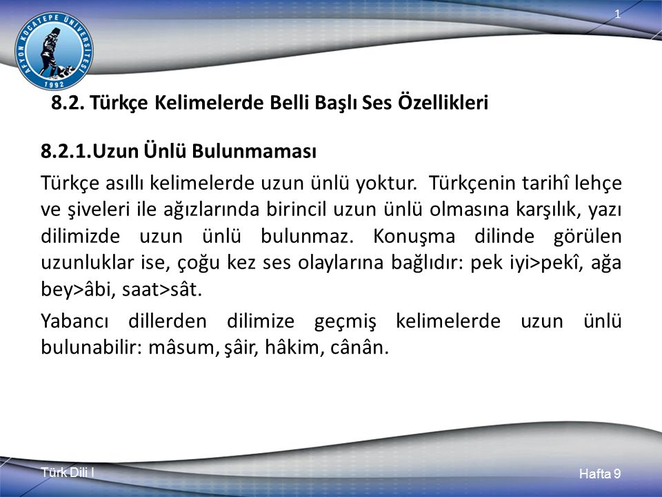 Türk Dili I Hafta 9 1 8.2.