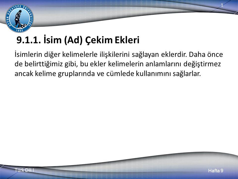 Türk Dili I Hafta 9 1 9.1.1.1.Hal (Durum) ekleri a.