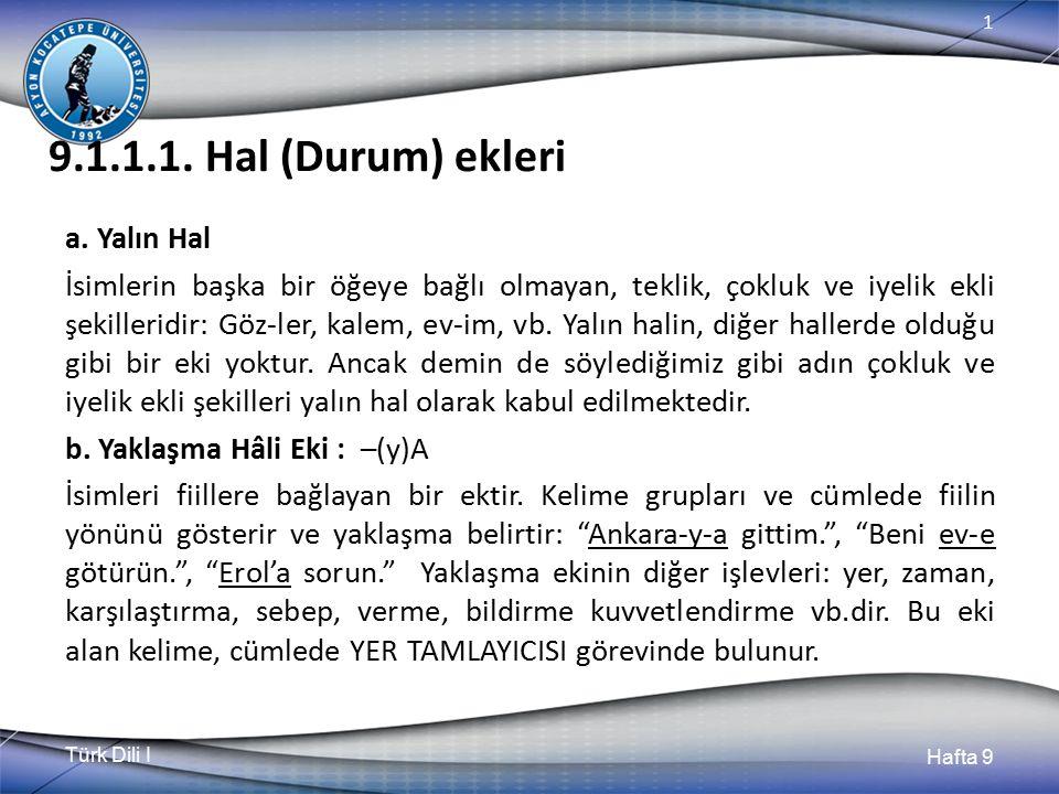 Türk Dili I Hafta 9 1 8.1.5.Kaynaşma Birleşik kelime yapımında karşımıza çıkan bir olaydır.