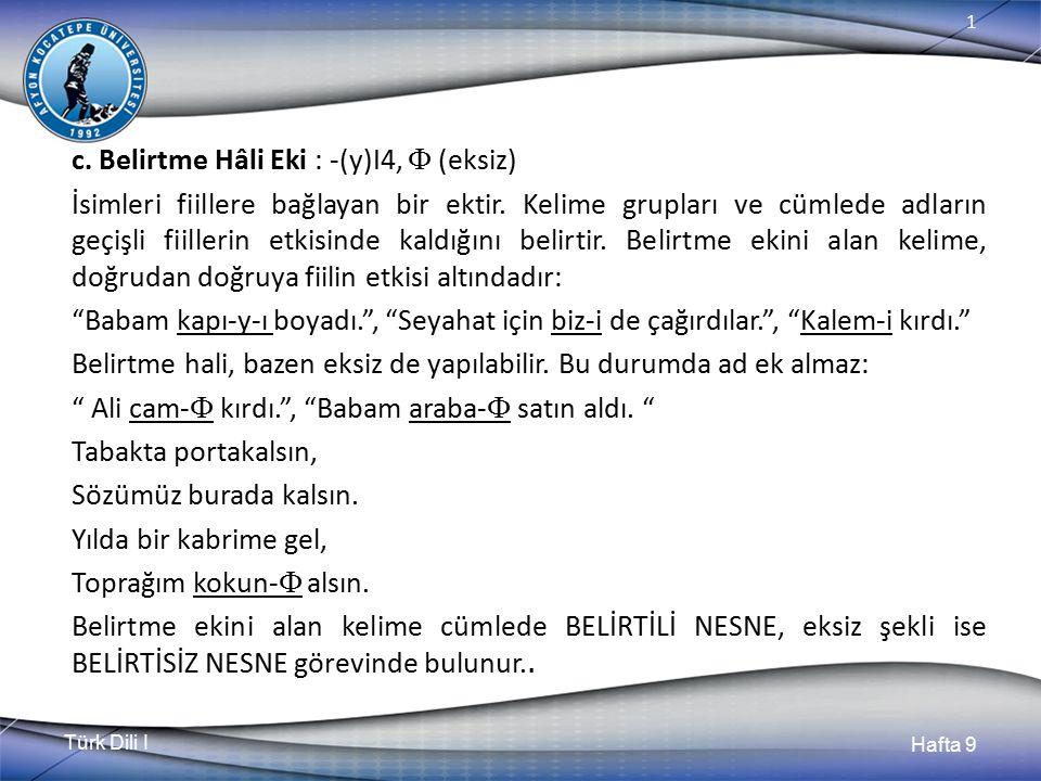 Türk Dili I Hafta 9 1 9.1.2.1.
