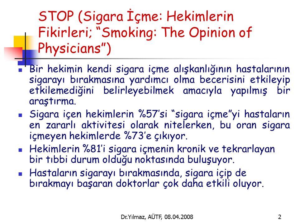 Dr.Yılmaz, AÜTF, 08.04.20082 STOP (Sigara İçme: Hekimlerin Fikirleri; Smoking: The Opinion of Physicians ) Bir hekimin kendi sigara içme alışkanlığının hastalarının sigarayı bırakmasına yardımcı olma becerisini etkileyip etkilemediğini belirleyebilmek amacıyla yapılmış bir araştırma.