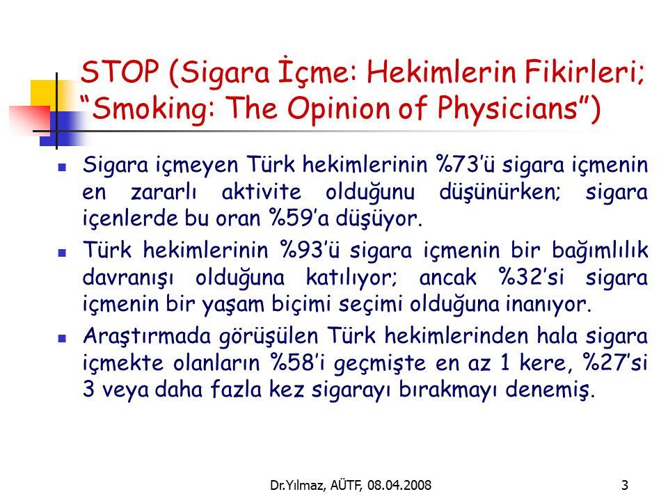 Dr.Yılmaz, AÜTF, 08.04.20084 Toraks Derneği Anket Çalışması Toraks Derneği üyelerinin sigara kullanma oranını, bu konudaki tutum ve davranışlarını, bilgi düzeylerini ve tütün kontrol önlemleri konusunda görüşlerini belirlemek amacıyla 1995 yılında yapıldı.