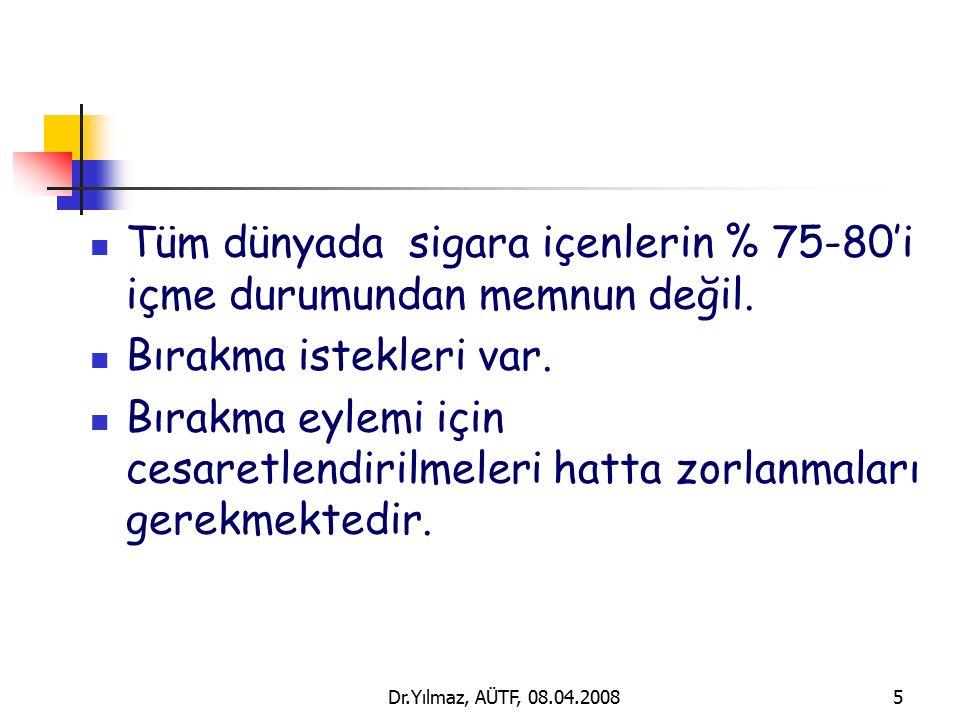 Dr.Yılmaz, AÜTF, 08.04.20085 Tüm dünyada sigara içenlerin % 75-80'i içme durumundan memnun değil.