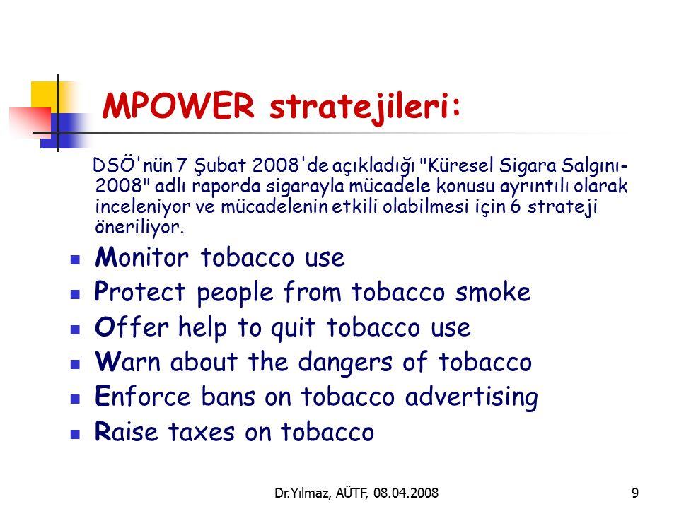 Dr.Yılmaz, AÜTF, 08.04.20089 MPOWER stratejileri: DSÖ nün 7 Şubat 2008 de açıkladığı Küresel Sigara Salgını- 2008 adlı raporda sigarayla mücadele konusu ayrıntılı olarak inceleniyor ve mücadelenin etkili olabilmesi için 6 strateji öneriliyor.