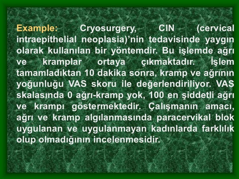 Example: Cryosurgery, CIN (cervical intraepithelial neoplasia)'nin tedavisinde yaygın olarak kullanılan bir yöntemdir.