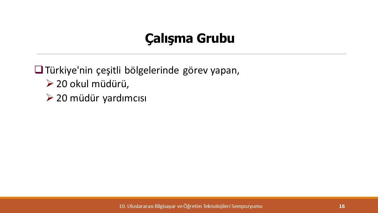 Çalışma Grubu  Türkiye'nin çeşitli bölgelerinde görev yapan,  20 okul müdürü,  20 müdür yardımcısı 1610. Uluslararası Bilgisayar ve Öğretim Teknolo
