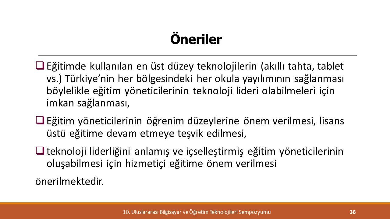 Öneriler  Eğitimde kullanılan en üst düzey teknolojilerin (akıllı tahta, tablet vs.) Türkiye'nin her bölgesindeki her okula yayılımının sağlanması bö