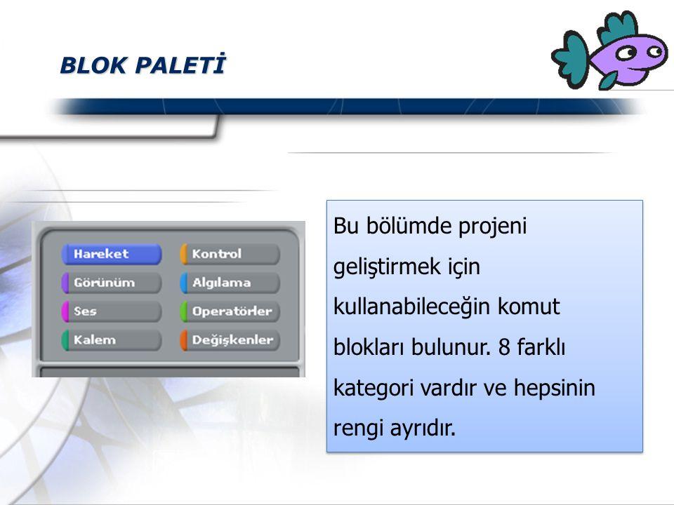 BLOK PALETİ Bu bölümde projeni geliştirmek için kullanabileceğin komut blokları bulunur. 8 farklı kategori vardır ve hepsinin rengi ayrıdır.