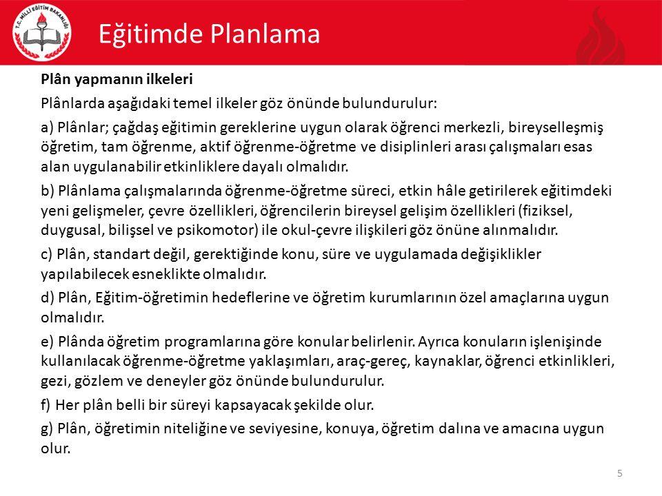 Eğitimde Planlama Plân yapmanın ilkeleri Plânlarda aşağıdaki temel ilkeler göz önünde bulundurulur: a) Plânlar; çağdaş eğitimin gereklerine uygun olar