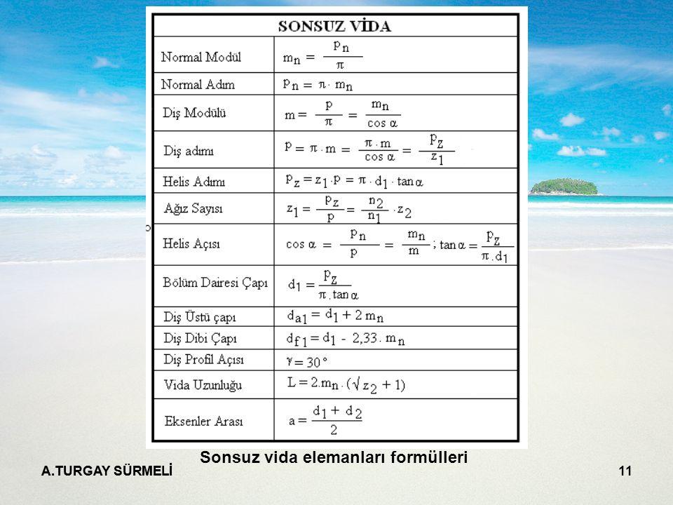 A.TURGAY SÜRMELİ 11 Sonsuz vida elemanları formülleri