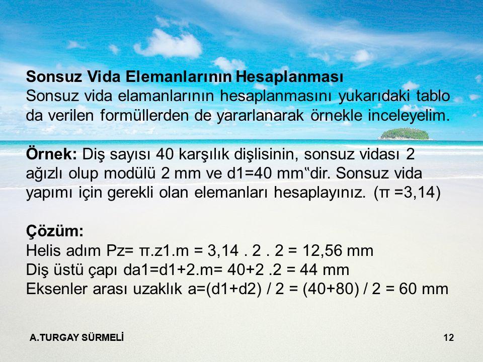 A.TURGAY SÜRMELİ 12 Sonsuz Vida Elemanlarının Hesaplanması Sonsuz vida elamanlarının hesaplanmasını yukarıdaki tablo da verilen formüllerden de yararl