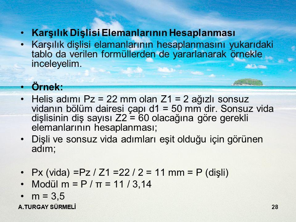 A.TURGAY SÜRMELİ 28 Karşılık Dişlisi Elemanlarının Hesaplanması Karşılık dişlisi elamanlarının hesaplanmasını yukarıdaki tablo da verilen formüllerden